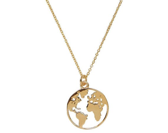 Gold World Map Travel Necklace • Pendetif • Weltkarte Halskette Charme • wanderlust jewelry