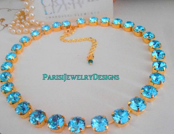 Aquamarine Blue Crystal Choker Necklace / Gold Jewelry