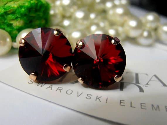 Rose Gold Swarovski Stud Earrings / Rivoli Post Earrings / Vienna / Siam Red Crystal Rivoli 1122 / 12mm / Fashion Earrings / Gift for her