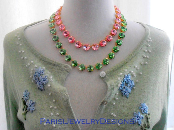 Crystal Collet Necklace with Swarovski Elements / Peridot/Light Rose / Rivoli Gold Cupchain Choker / Tennis Necklace / Fashion Gift For Her