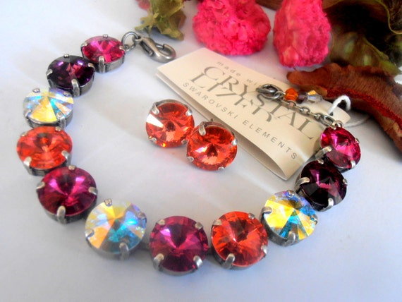 Cupchain Swarovski Rivoli Crystal Bracelet • Tennis Bracelets • 12mm 1122 Antique Silver
