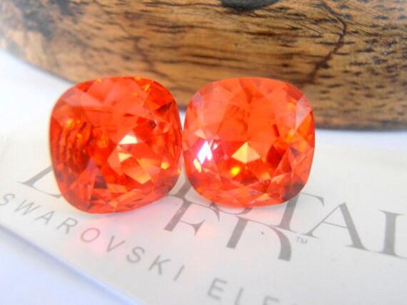 Cushion Cut Earrings / Swarovski Stud Earrings / Padparadscha Orange 12mm Crystal / Pierced Post Earrings / 4470 / Fashion Jewelry