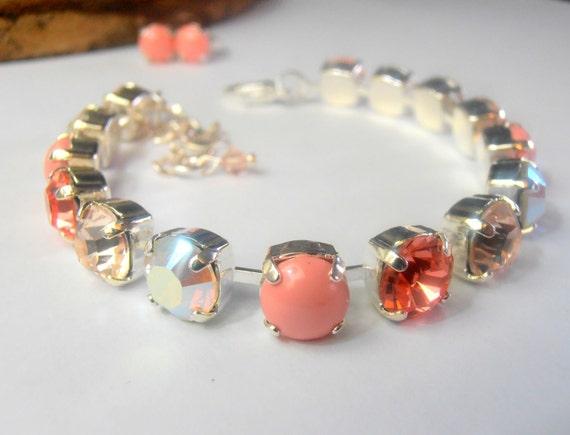 Swarovski Cup Chain Tennis Bracelet / Crystal Handmade Jewelry