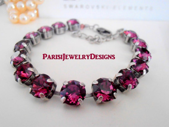 Swarovski Bracelet /Birthstone February Amethyst Crystal / Tennis / Cupchain / Surgical Steel Chain / Gift For Her Christmas/ Charm Bracelet