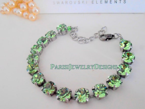 Swarovski Bracelet /Birthstone August Peridot Crystal / Tennis / Cupchain / Surgical Steel Chain / Gift For Her Christmas/ Charm Bracelet