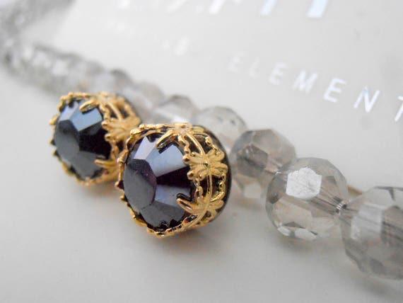 Hematite Black Filigree Gold Earrings W/ Swarovski Crystals / Stainless Steel Studs