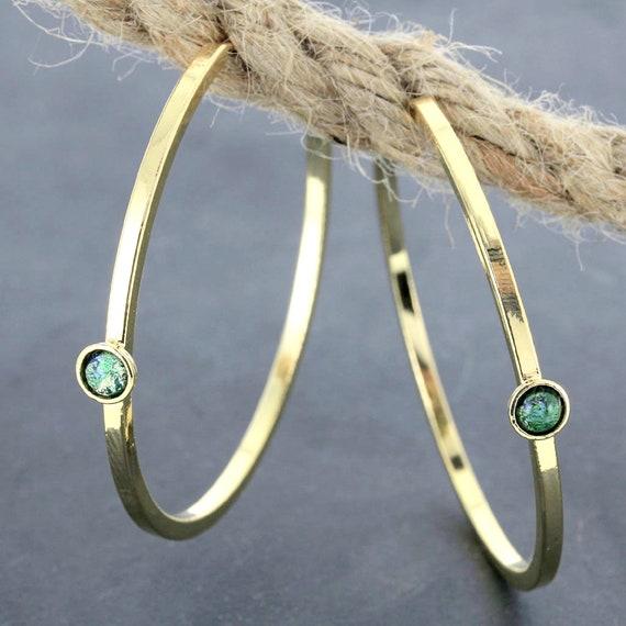 Gold Hoop Earrings w/ Gemstones / Wide Square Wire Hoop Jewelry