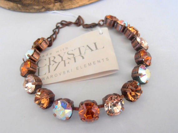 Multicolor Rustic Silk/Copper, Swarovski Bracelet, Tennis, 8mm, Crystal Chatons, Cupchain, Antique Copper, Shabby, Vintage style