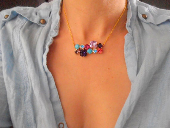 Multicolors Swarovski Crystal Necklace / Bar Pendant / Statement Cushion Cut Gold Jewelry / Birthday Gift for her
