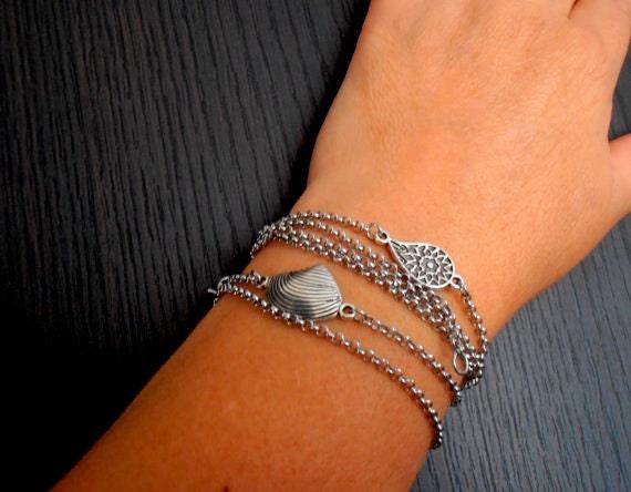 Evil Eye Bracelet / Layered Charm Bracelet / Delicate Bracelet / Double Chain /  Link /  Bohemian  Stainless Steel / Antique Silver Bracelet