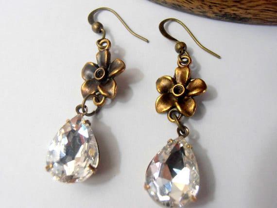 SALE ITEM, Austrian Clear Crystal Earrings, Pear Drops, Dangle, Hook, 14x10mm, Vintage Rhinestones, Connector, Antique Brass setting
