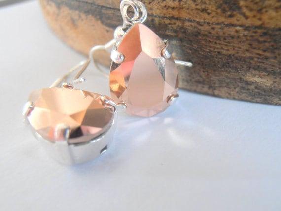 Rose Gold, Swarovski Pear Earrings, Crystal Dangle earrings, Tear Drop, Hook, Bridal, Silver plated prong Setting