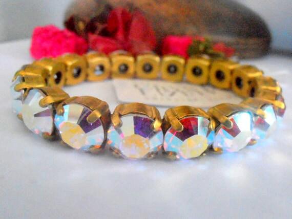 Bridal • Aurora Borealis Swarovski Stretch Bracelet • Sew on Crystal Bracelet