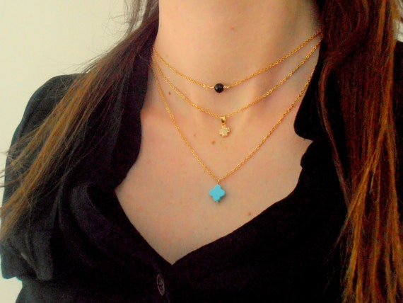 Dainty Minimalist Layered Jewelry / Turquoise MultiStrand Necklace