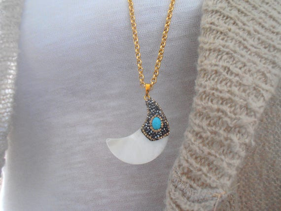 Layered and Long Dainty Half Moon Crescent Turquoise Necklace