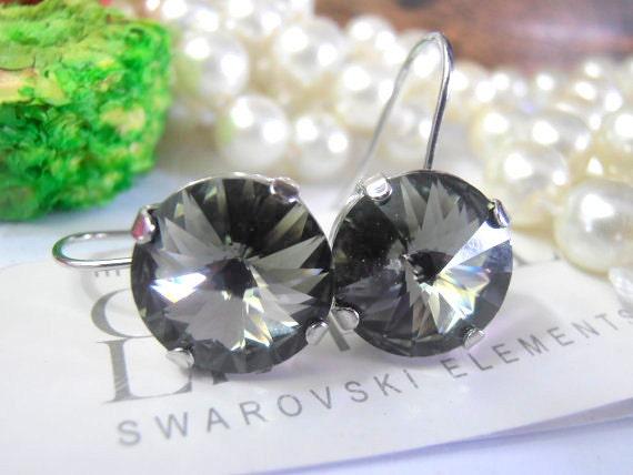 Black Diamond, Swarovski Earrings, 12mm, Crystal, Rhodium Rivoli setting,  Dangle Drop Earrings, Vienna Earrings - Designer Inspired