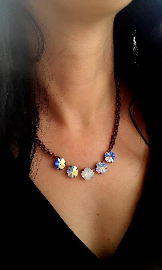 Aurora Borealis Swarovski Necklace / Rivoli Choker / Cushion Cut  Jewelry