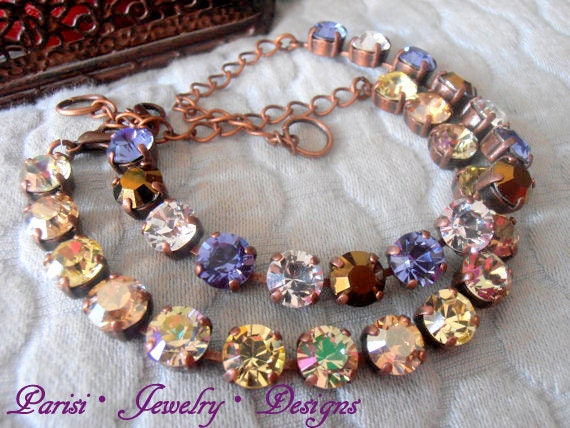 Golden Shadow Swarovski Tennis Bracelet / Copper Jewelry / Women Birthday Gift
