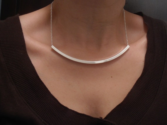 Bar Tube Metal Necklace / Dainty Layered Silver Long Necklace / Christmas Present