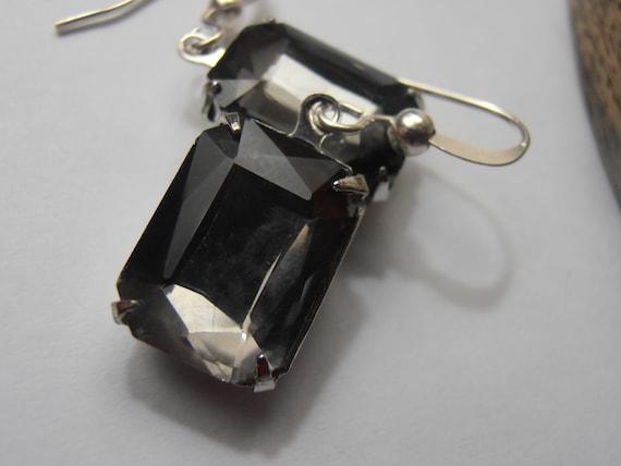 SALE ITEM 14x10mm Black Diamond Austrian Fancy Crystals Rectangular Vintage Rhinestones Silver setting hook dangle earrings