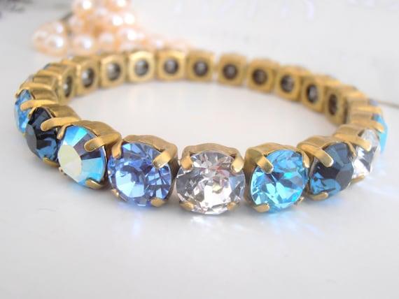 Blue Blue Swarovski Stretch Bracelet / Crystal Cuff Bracelet / Sew on Bracelets / Gift for her