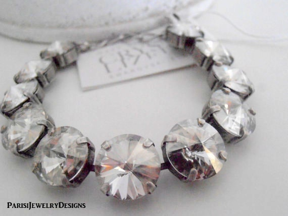 Wedding Bracelet w/ Swarovski Crystals / Silver Shade Rivoli Jewelry