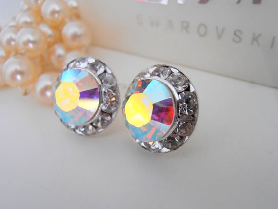 Aurora Borealis Swarovski Stud Earrings / Halo Earrings / Wedding Studs /  Bridal Post Earrings / Bridesmaid Earrings / Wedding Jewelry