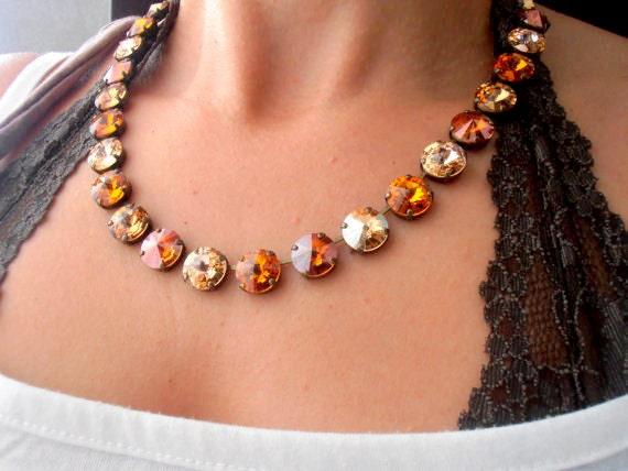 Multi Brown Anna Wintour Swarovski Crystal Necklace