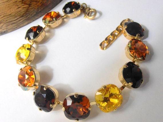 Light Topaz Multicolor Cushion Cut Bracelet • Gold Cup chain