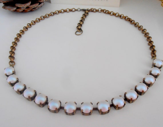 Pearlescent White Swarovski Pearl Necklace 5817 / Crystal Cup Chain Choker
