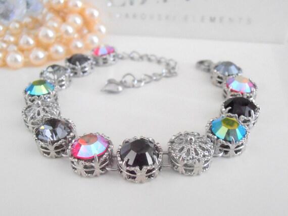 Art Deco Swarovski Crystal  Bracelet • Multicolor Aurora Borealis Christmas Gift