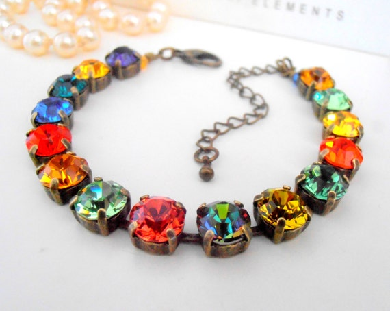 Multi Colors Swarovski Cup Chain Tennis Bracelet / Vintage Jewelry