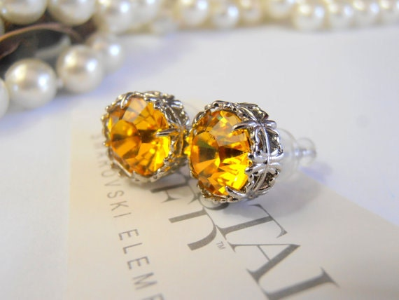 Yellow Swarovski Stud Earrings / Women fashion Jewelry