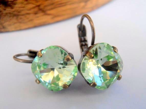 Chrysolite Green Fancy Earrings / Swarovski Cushion Cut Crystal Jewelry 4470
