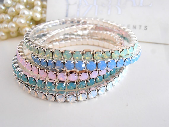 Swarovski Stretch Bracelet / Crystal Cuff Bracelet / /Layered Cupchain Jewelry/ Rose water Opal / Blue Opal / Chrysolite Opal