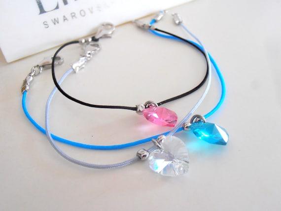 Leather Cord Swarovski Heart Bracelet • Minimalist Jewelry for Gift