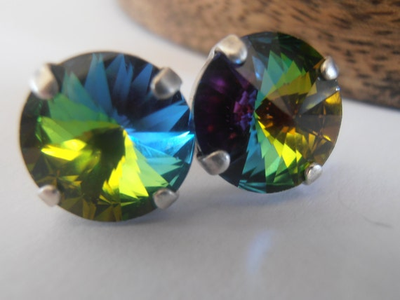 Medium Vitrail Stud Earrings w/ Swarovski Rivoli Crystals 12mm / Statement Jewelry