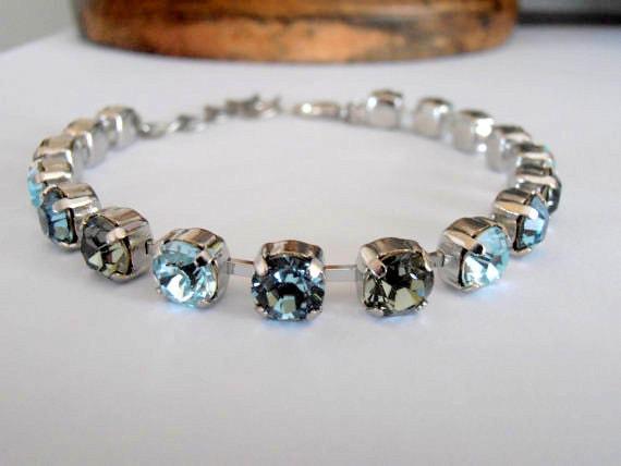 Dainty Swarovski Bracelet / Crystal Tennis Bracelets / Platinum plated Shabby Chic Style / Gift for her / Fashion Bracelet