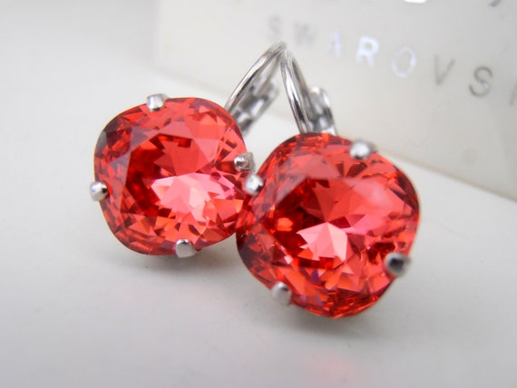 Padparadscha Swarovski Cushion Cut Earrings 4470 / Dangle & Drop Crystal Jewelry