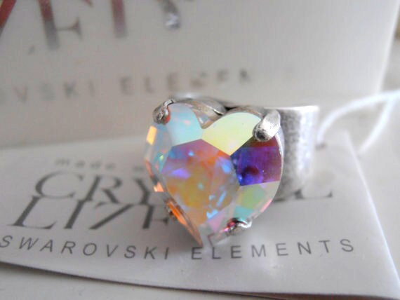 Aurora Borealis Heart Ring w/ Swarovski Crystal • Statement Adjustable Fashion Rings