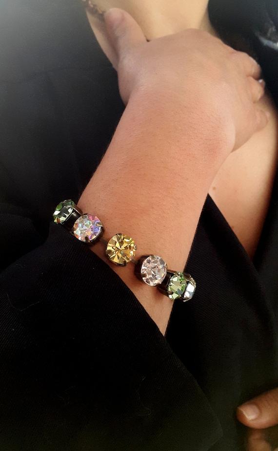 Multi-colors Cup chain Swarovski Crystal Bracelet / Antique Bronze Jewelry