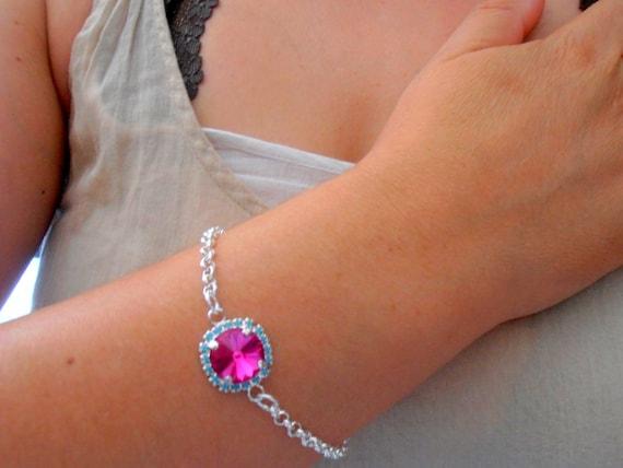 Turquoise Fuchsia Micro Pave Bracelet w/ Swarovski Rivoli Crystals