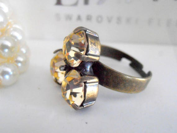 Jonquil Swarovski Ring / Adjustable Chaton Ring / Yellow Crystal / Vintage Stacking Rings / Antique Bronze / SS39 8mm /  Fashion Jewelry