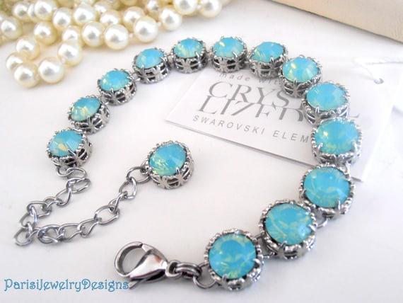 Pacific Opal Bracelet w/ Swarovski Cystals / Art Deco Platinum Jewelry