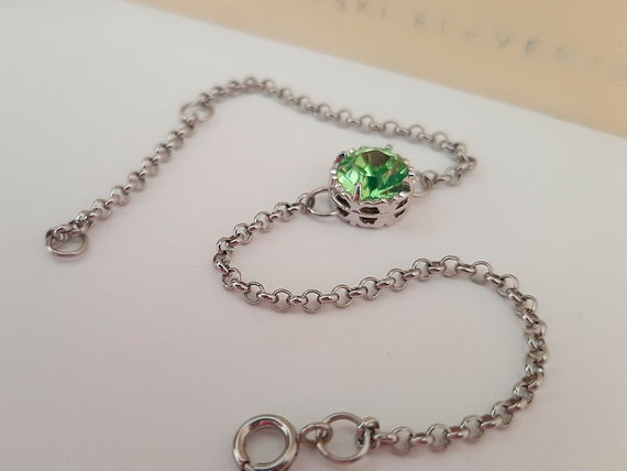 Peridot Filigree Chain Bracelet w/ Swarovski Crystal • Art Deco Jewelry