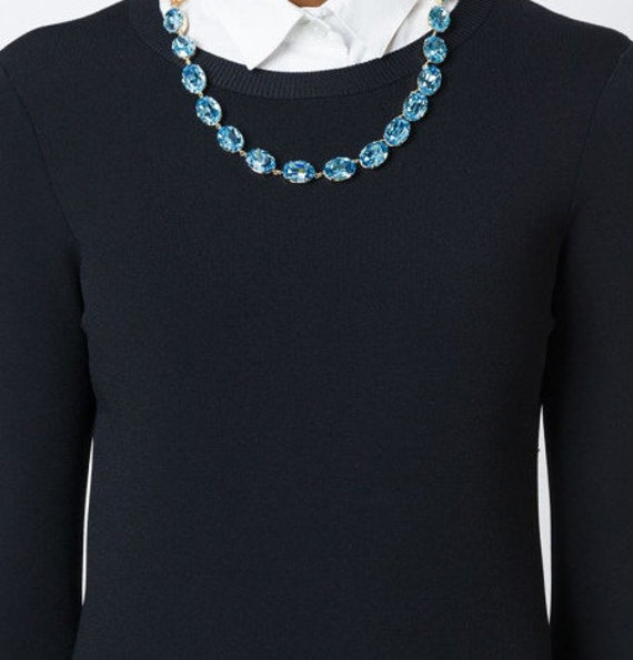 Aquamarine Swarovski Collet Necklace / Anna Wintour Crystal Blue Choker