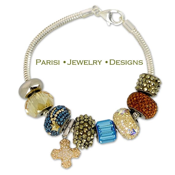 Swarovski Becharmed Bracelet / Micropave Crystal Charms Bracelet  / 925 Sterling Silver Snake Chain / Gift for her / Fashion Jewelry