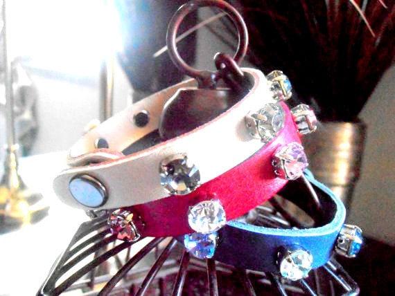 Leather Cuff Bracelet / Wrap / Strap Bracelet / Swarovski Crystal Bracelet / Layered / Cupchain Tennis Bracelet / Gift for her