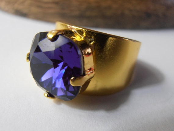 Swarovski Ring, Cushion Cut Crystal Band Ring, Purple Velvet 4470, Adjustable Rings, Golden Plated setting, Fashion Costume Ring