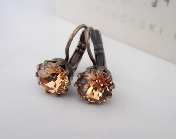 Crown French Wire Swarovski Crystal Drop Earrings / Brown Light Smoked Topaz Jewelry